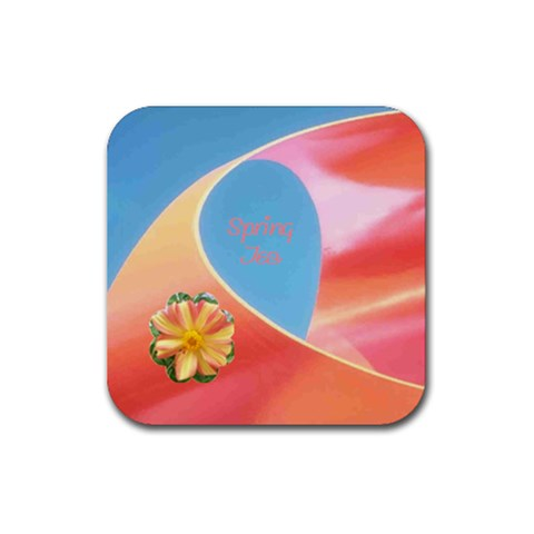 Spring Tea Coaster By Birkie   Rubber Coaster (square)   Q895g0hw4iw5   Www Artscow Com Front