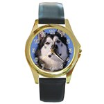 Alaskan Malamute Dog Round Gold Metal Watch