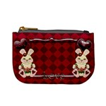 Red Tartan Bunny Love mini  coin purse - Mini Coin Purse