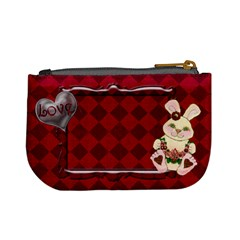 Red Tartan Bunny Love Mini  Coin Purse By Claire Mcallen   Mini Coin Purse   Lartziot305d   Www Artscow Com Back