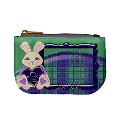 Tartan Love Bunny Blue And Green Mini Coin Purse By Claire Mcallen   Mini Coin Purse   N05zcngwbuay   Www Artscow Com Front