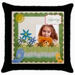 spring - Throw Pillow Case (Black)
