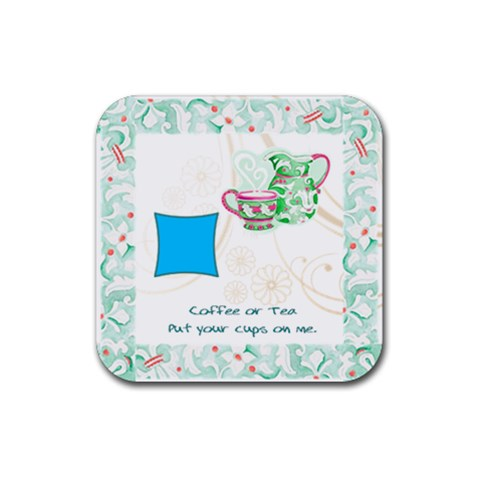 Green Coffee Coaster By Birkie   Rubber Coaster (square)   Tl9e7e2rmklj   Www Artscow Com Front