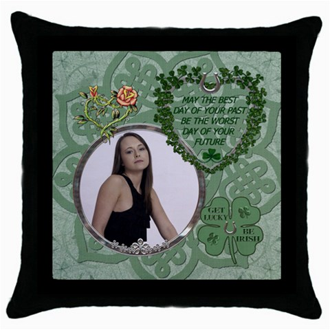 Lucky Irish Throw Pillow Case By Lil    Throw Pillow Case (black)   Etxtkvlhnuni   Www Artscow Com Front