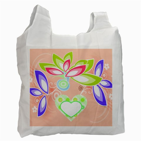 Heart And Flowers Recycle Bag By Birkie   Recycle Bag (one Side)   Y2mv3n1vtfxb   Www Artscow Com Front