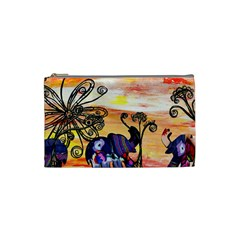 Indian Elephants Cosmetic Bag (Small) by KewzooArt