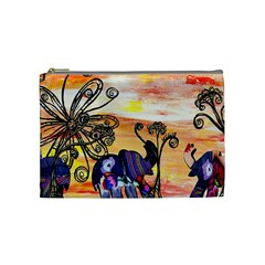 Indian Elephants Cosmetic Bag (Medium) by KewzooArt