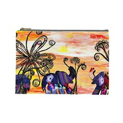 Indian Elephants Cosmetic Bag (Large) by KewzooArt
