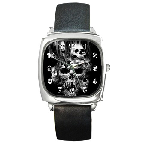 Skull Watch By Desiree   Square Metal Watch   Uguko45q1po0   Www Artscow Com Front