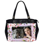 Pink floral Oversize Office Bag (2 sided) - Oversize Office Handbag (Two Sides)
