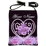 Purple Floral Heart Bag - Shoulder Sling Bag