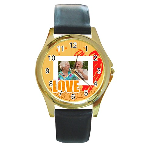 Love By Joely   Round Gold Metal Watch   8wy27tuupfxh   Www Artscow Com Front