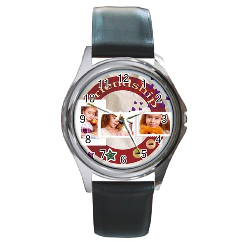 Friendship By Joely   Round Metal Watch   5dcj1qo5v80c   Www Artscow Com Front