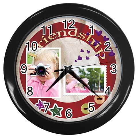 Friendship By Joely   Wall Clock (black)   6tcjiefvdkwb   Www Artscow Com Front