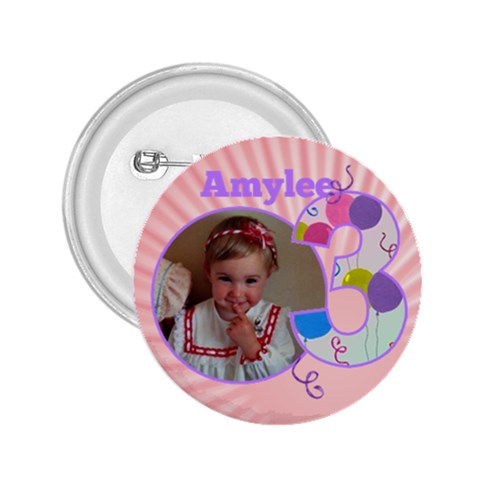 3 Birthday Girl Button 2 25 By Deborah   2 25  Button   H8sr6d0t4dpg   Www Artscow Com Front