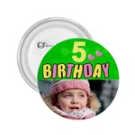 Birthday 5 girl button 2.25 - 2.25  Button