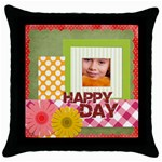 happy day - Throw Pillow Case (Black)