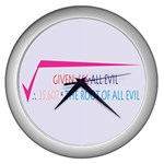 Square Root of all Evil Wall Clock (Silver)
