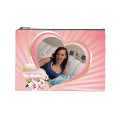 Pink Heart Cosmetic Bag (large) By Deborah   Cosmetic Bag (large)   Ihxvzxmsz8n7   Www Artscow Com Front