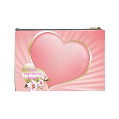 Pink Heart Cosmetic Bag (large) By Deborah   Cosmetic Bag (large)   Ihxvzxmsz8n7   Www Artscow Com Back