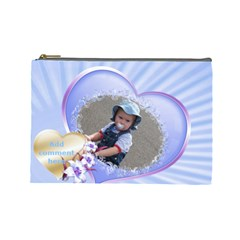 Blue Hearts Cosmetic Bag (large) By Deborah   Cosmetic Bag (large)   Ng21x284cxby   Www Artscow Com Front
