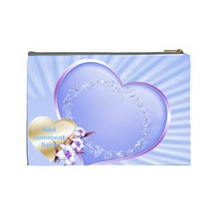 Blue Hearts Cosmetic Bag (large) By Deborah   Cosmetic Bag (large)   Ng21x284cxby   Www Artscow Com Back