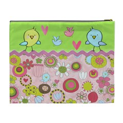 Birds Retro By Wonder Smith   Cosmetic Bag (xl)   7s6mi99zigpf   Www Artscow Com Back