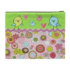 Birds Retro By Wonder Smith   Cosmetic Bag (xl)   7s6mi99zigpf   Www Artscow Com Back