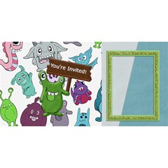 3d Monster Party Invitation 1 By Lisa Minor   Party 3d Greeting Card (8x4)   Rxxq9n41ik1e   Www Artscow Com Front