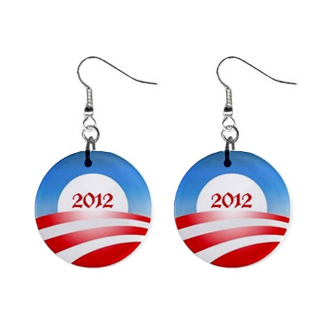 Obama 2012 Earrings By Jodi   1  Button Earrings   161lipe4hgir   Www Artscow Com Front