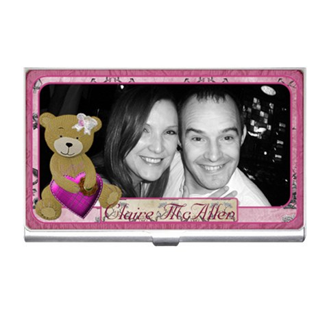 Pink teddy bear love business card holder by claire mcallen Front