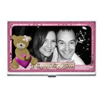 Pink teddy bear love business card holder