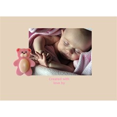 Baby Girl Announcement 3d Card By Deborah   Girl 3d Greeting Card (7x5)   Yx3h53vmrmzy   Www Artscow Com Back