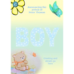 Baby Boy Announcement 3d Card By Deborah   Boy 3d Greeting Card (7x5)   Wcgffuz7f41j   Www Artscow Com Inside