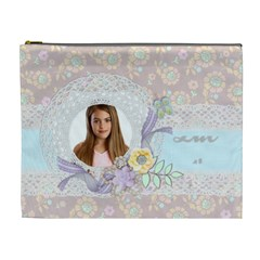 Pastel Floral, Cosmetic Bag (xl) By Mikki   Cosmetic Bag (xl)   Vs2jgf3flwgs   Www Artscow Com Front