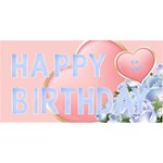 Pink and Blue 3D happy Birthday - Happy Birthday 3D Greeting Card (8x4)