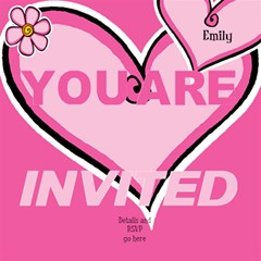 Named Pink Heart 3d Invited Card By Deborah   You Are Invited 3d Greeting Card (8x4)   3lwv66izd1qx   Www Artscow Com Inside