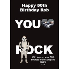 Robs 50th Birthday By Claire Mcallen   You Rock 3d Greeting Card (7x5)   Whtineiziaab   Www Artscow Com Inside