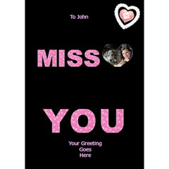 Miss You In Pink 3d Card By Deborah   Miss You 3d Greeting Card (7x5)   O3j9uop4o4l5   Www Artscow Com Inside