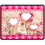 Floral Hearts 2 Med Blanket - Fleece Blanket (Medium)
