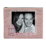 We  are a symphony, pink vintage lace make up bag - Cosmetic Bag (XL)
