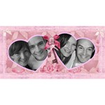 I love You pink bow heart 3d card - Twin Hearts 3D Greeting Card (8x4)