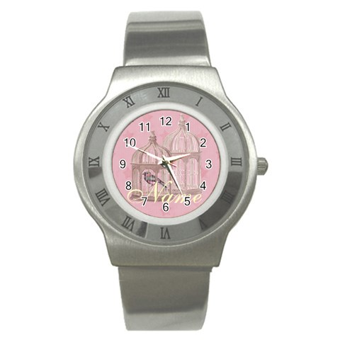 Bird Cage Watch Pink By Claire Mcallen   Stainless Steel Watch   75c2xnph291w   Www Artscow Com Front