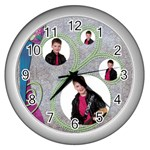 Purple Dream Quad Frame  Clock - Wall Clock (Silver)
