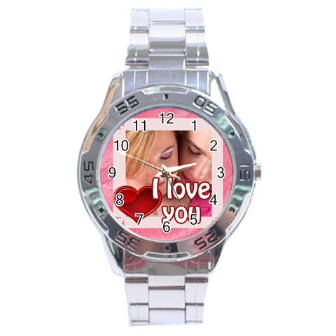 L Love You By May   Stainless Steel Analogue Watch   Hgms3a7pniuf   Www Artscow Com Front