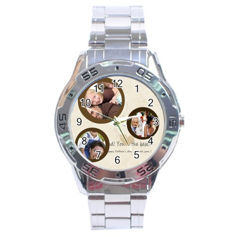 Fathers Day By Joely   Stainless Steel Analogue Watch   9y73krqs8u0f   Www Artscow Com Front
