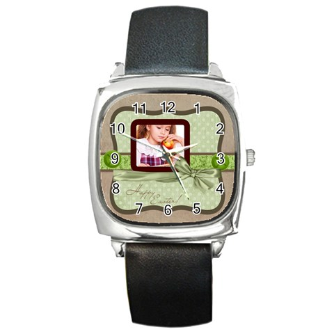 Happy Easter By Joely   Square Metal Watch   Wtyrvqebr722   Www Artscow Com Front