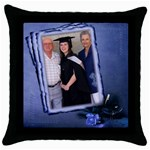 Congrats in Blue - Throw Pillow Case (Black)