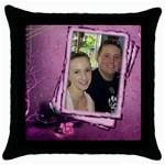 Congrats in Pink - Throw Pillow Case (Black)