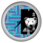 old teddy clock - Wall Clock (Silver)